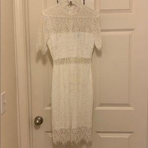 Lulus midi white lace dress